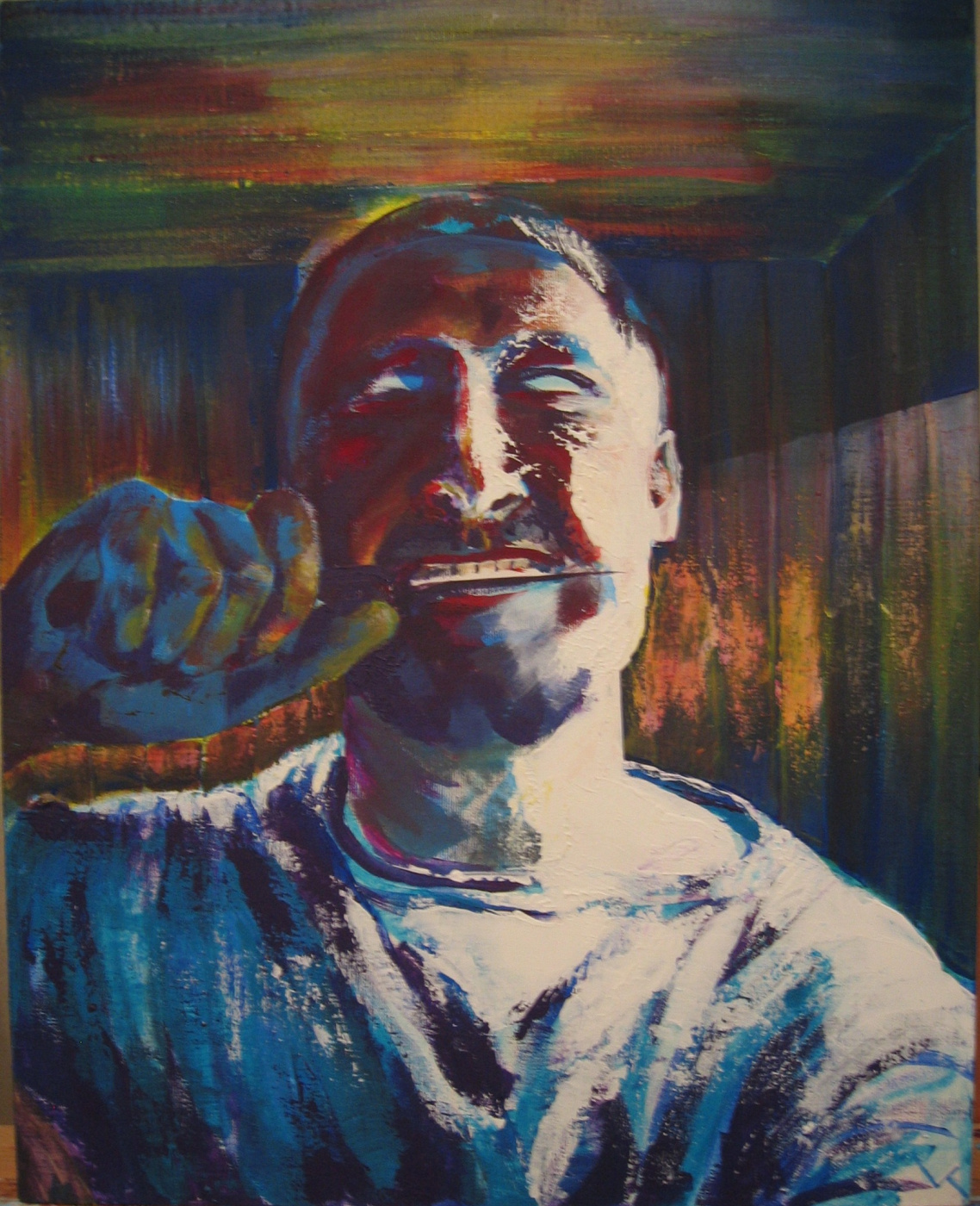 Nikolai margin. Self-portrait with a knife in his teeth