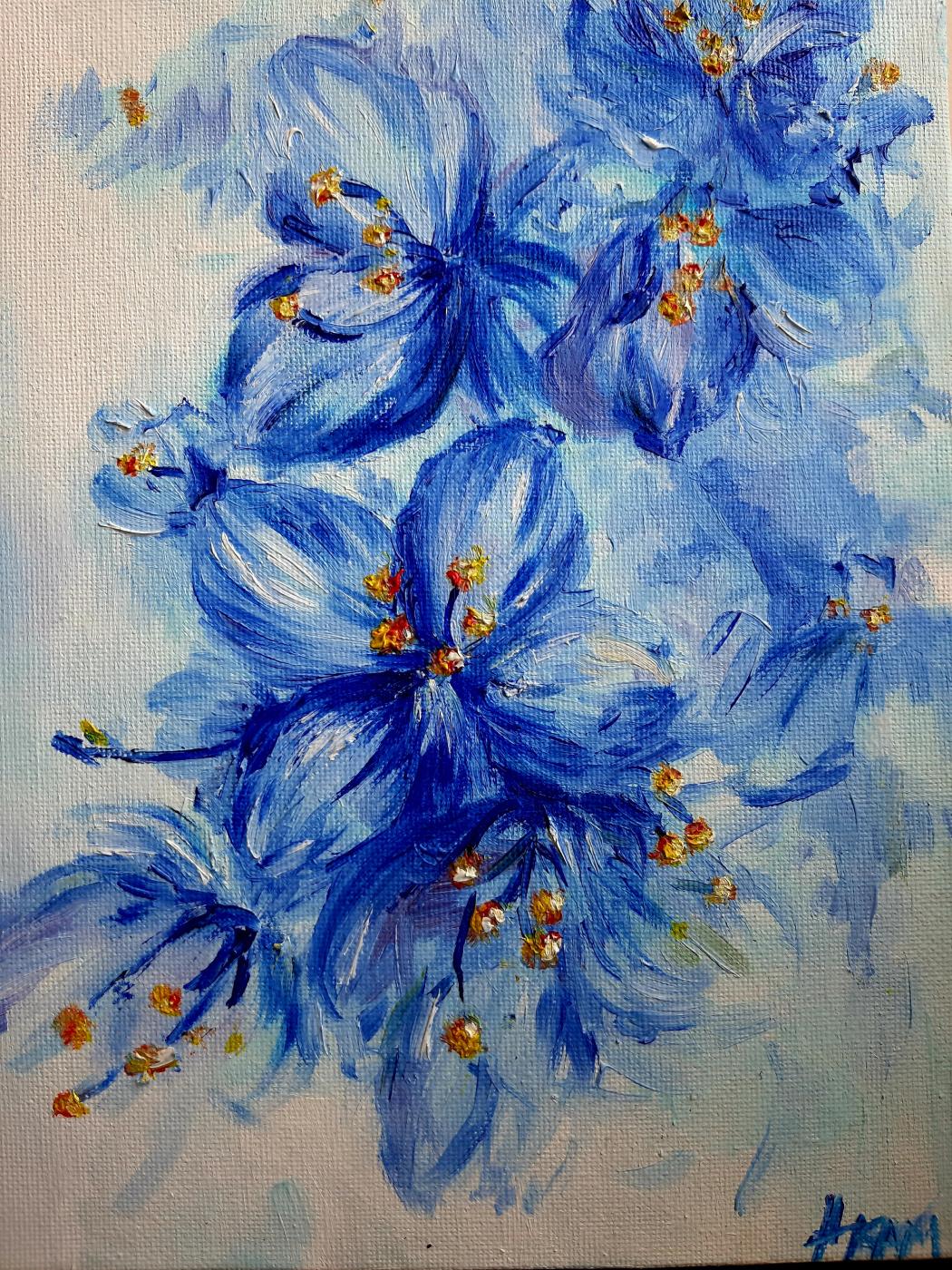Camilla Ilmirovna Galimova. Flowers in blue tones