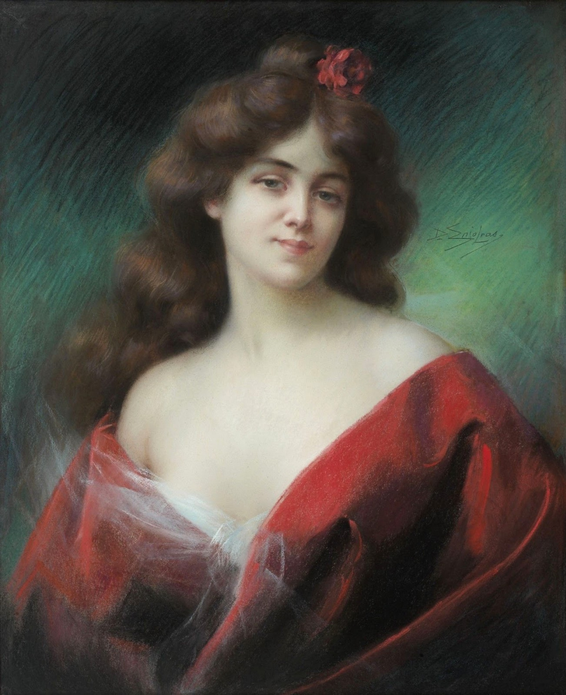 Dolphin Angolra. Portrait of a woman in a red dress.