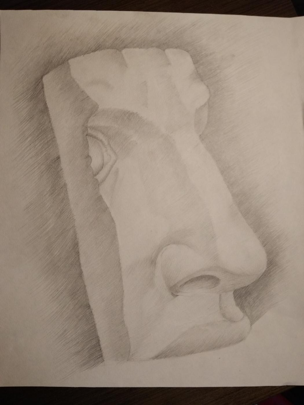 Novikov V.. Drawing, pencil, part of the face 90s