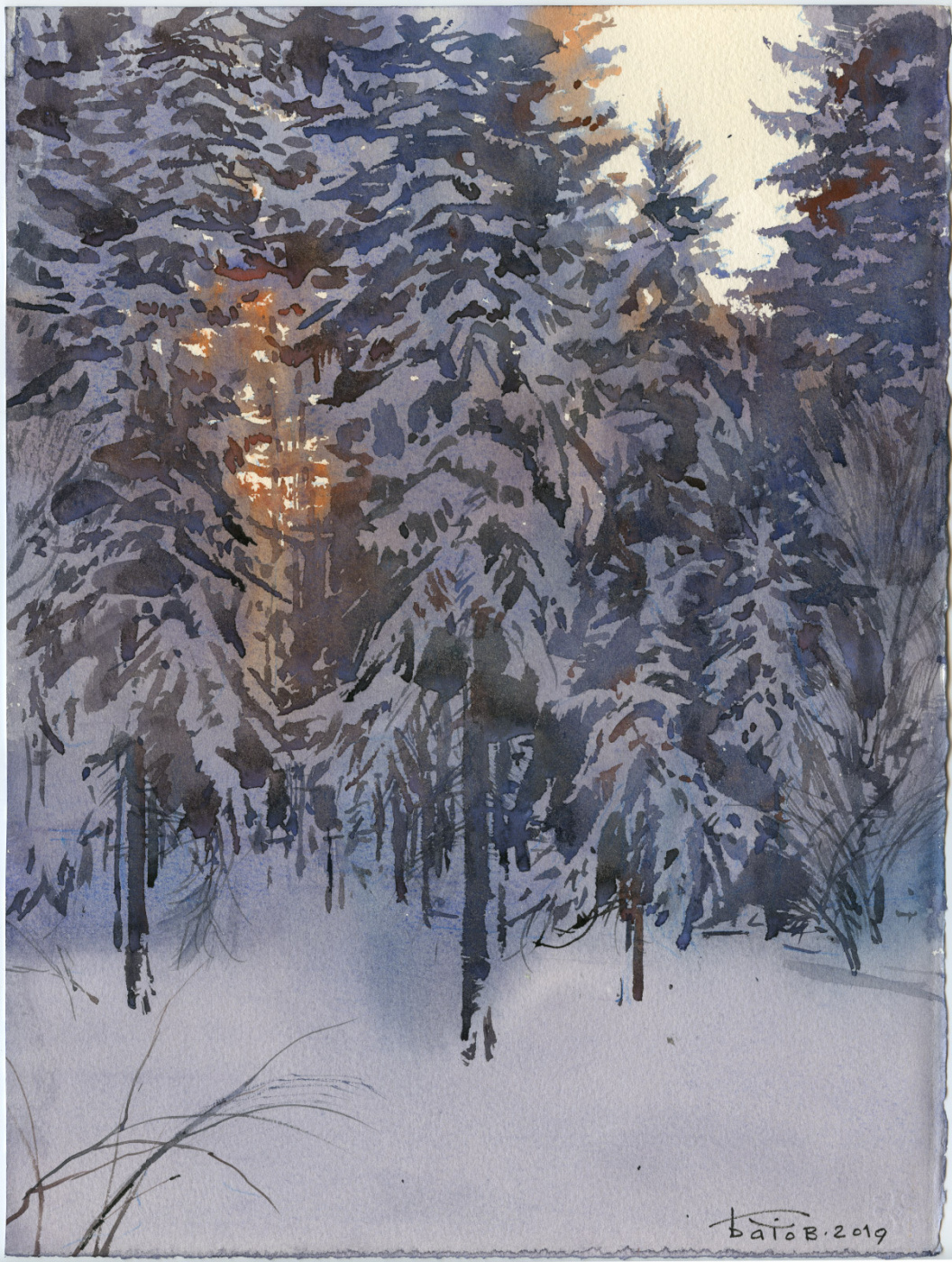 Anton Batov. Twilight in the winter forest