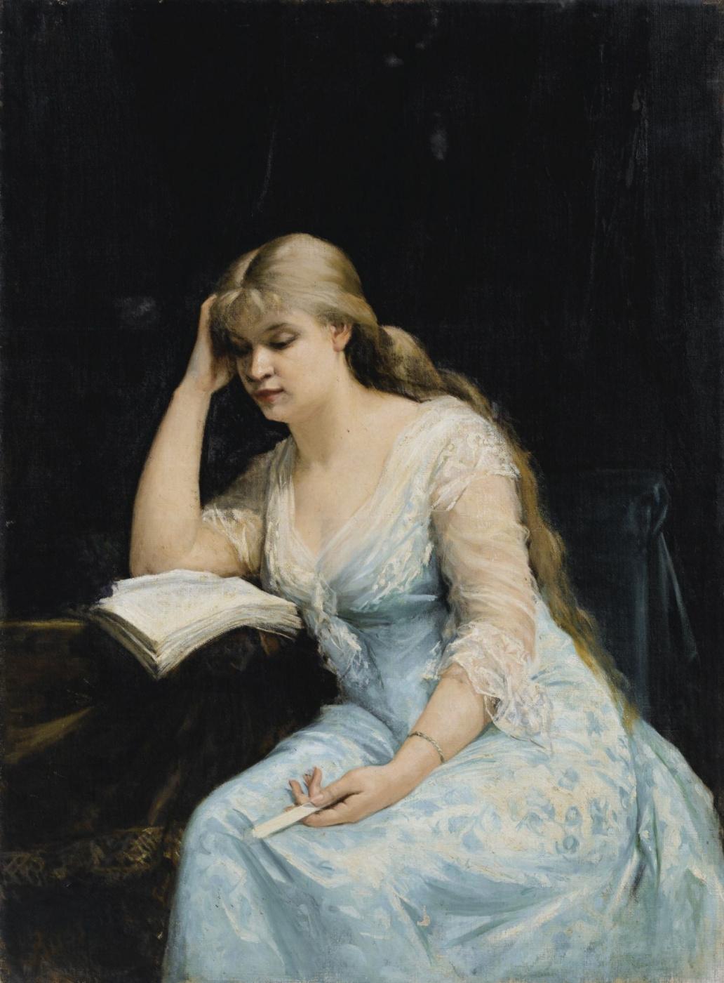 "Мария Константиновна Башкирцева. A young woman reads ""the Question of divorce"" by Alexander Dumas"