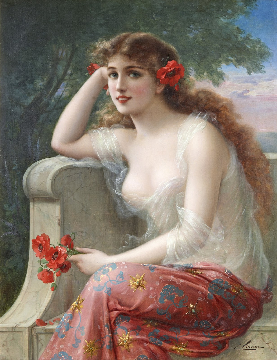 Emile Vernon. Young beauty with poppies.