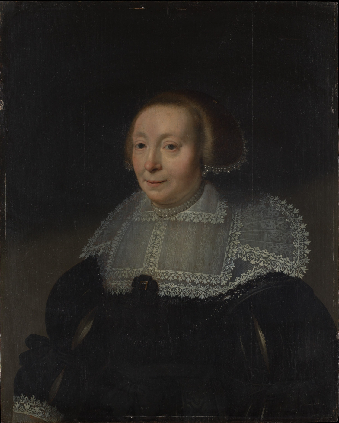 Janson Mihil van Mireveld. Portrait of a woman in a dress with a lace collar