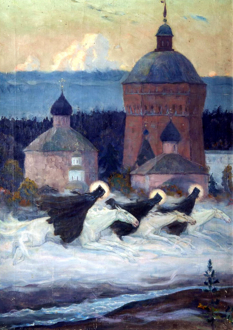 Mikhail Vasilyevich Nesterov. Riders. An episode from the history of the siege of the Trinity Sergius Lavra