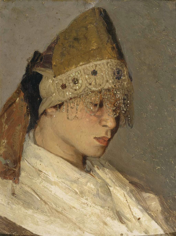 Mikhail Vasilyevich Nesterov. Girl in a headdress. Portrait Of M. I. Nesterova