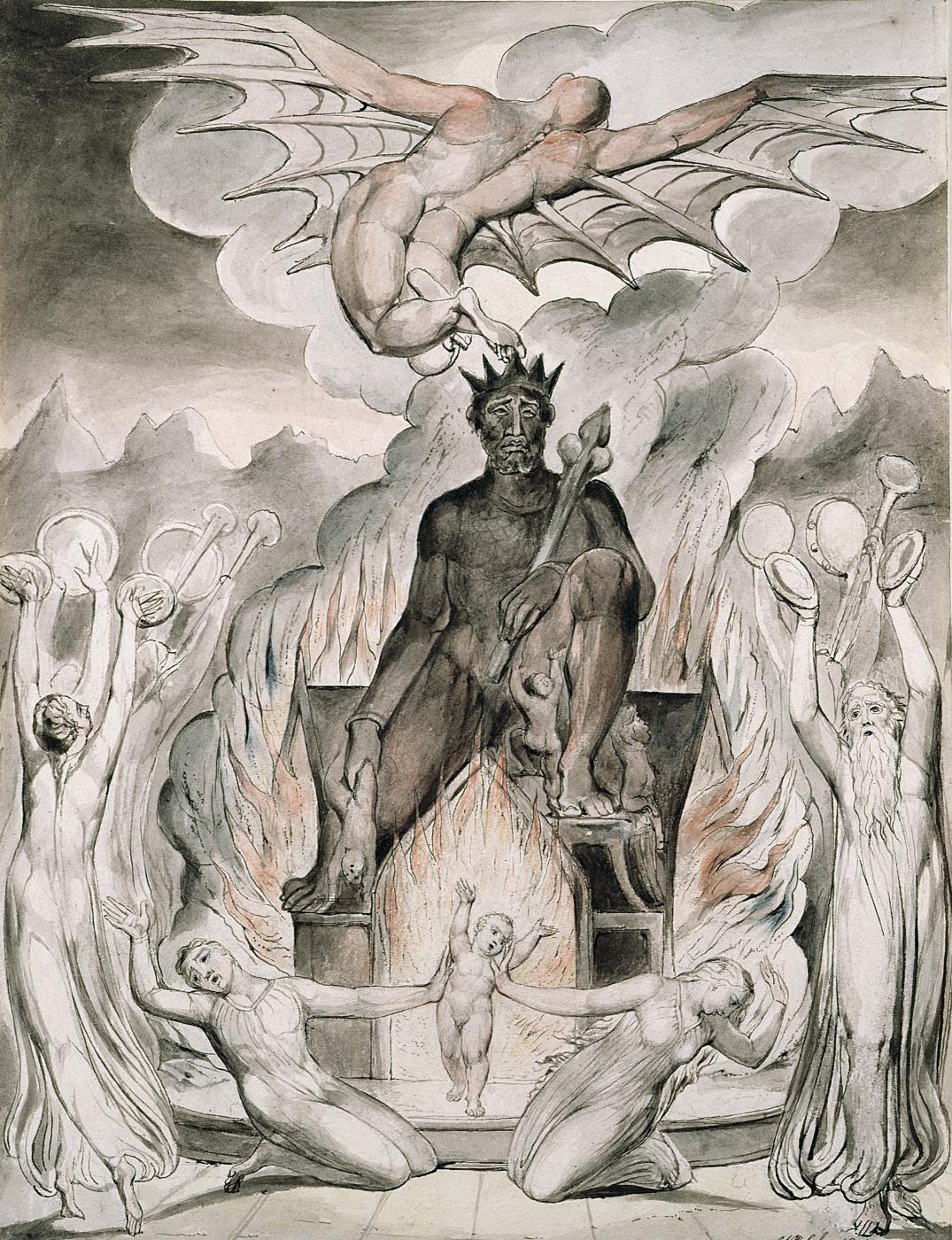 "William Blake. The Flight Of Moloch. Illustration for the poem of Milton's ""Morning Christmas"""