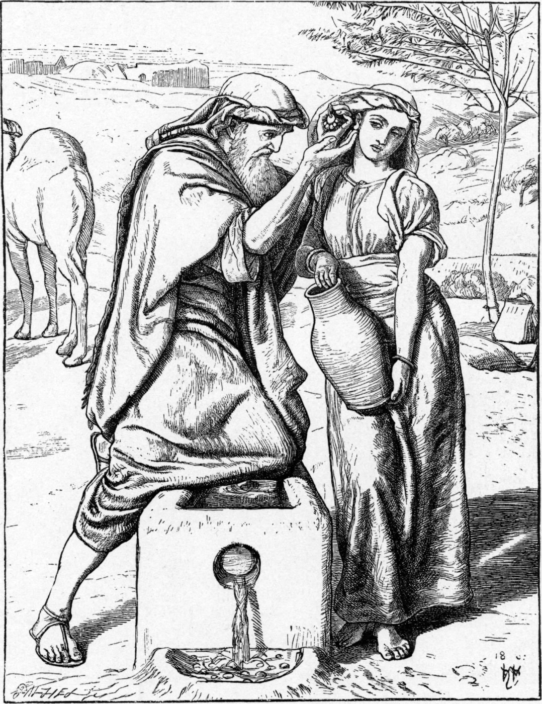 William Holman Hunt. Eliezer and Rebekah at the well
