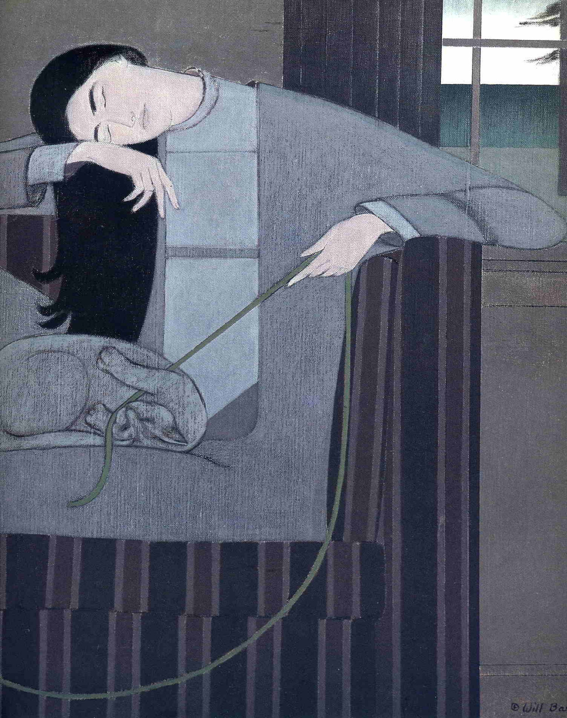 Will Barnet. Playing with a cat