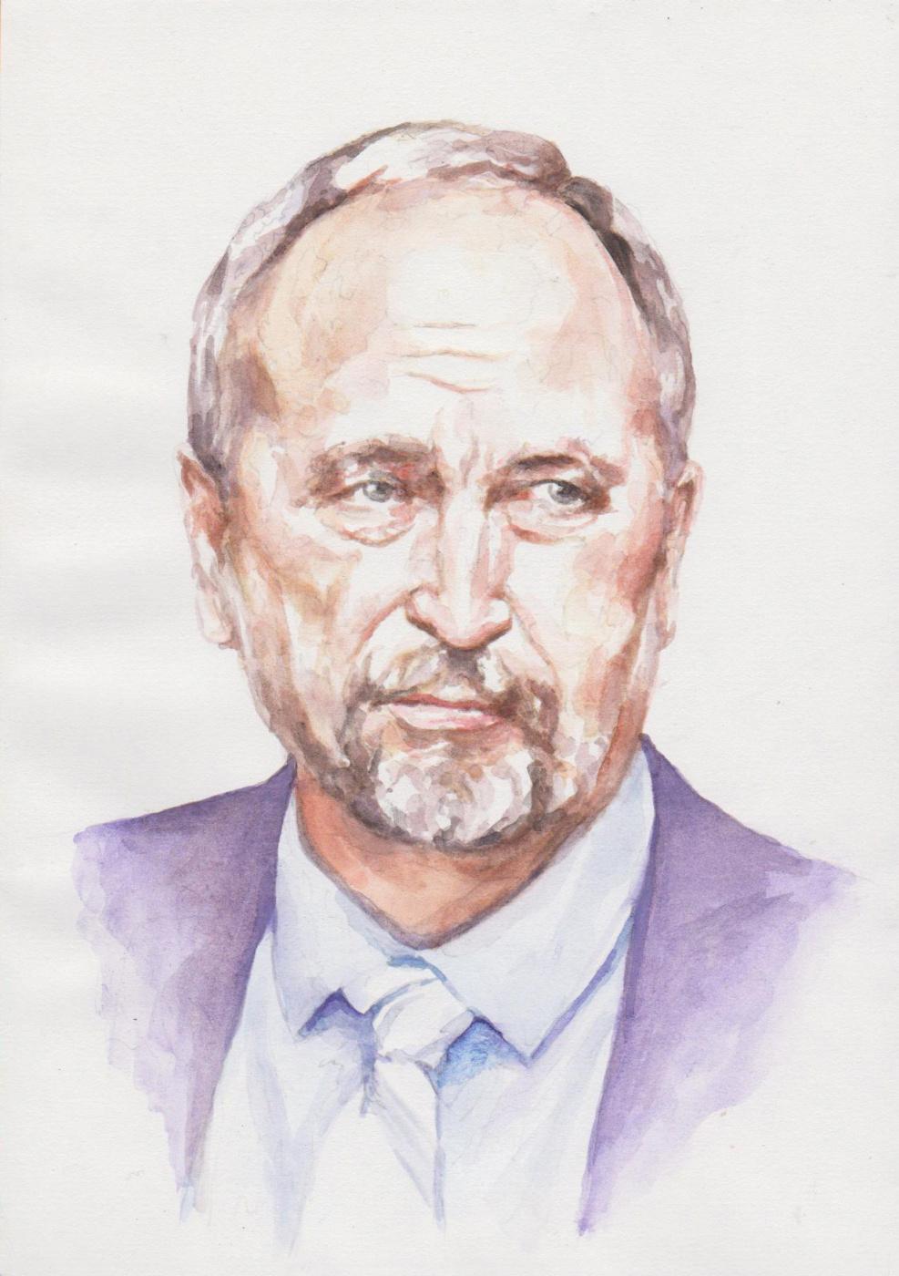 Ivan Alexandrovich Dolgorukov. Watercolor portrait of my friend (Chief Architect of the City of Barnaul) Sergey AV Bozhenko