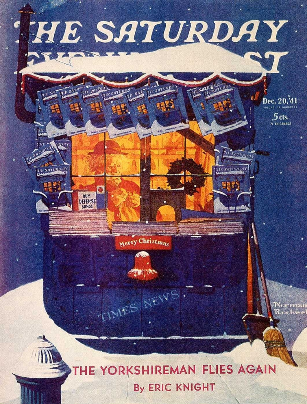 """Norman Rockwell. Newsstand in the snow. Cover of """"The Saturday Evening Post"""" (20 December 1941)"""