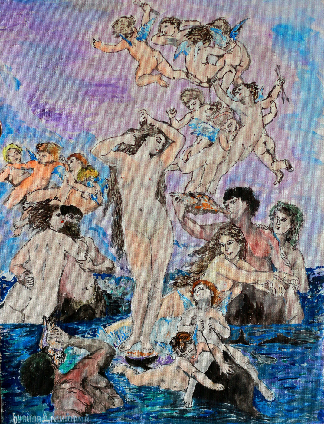 "Дмитрий Юрьевич Буянов. A free copy of A. Bouguereau's ""Birth of Venus"""
