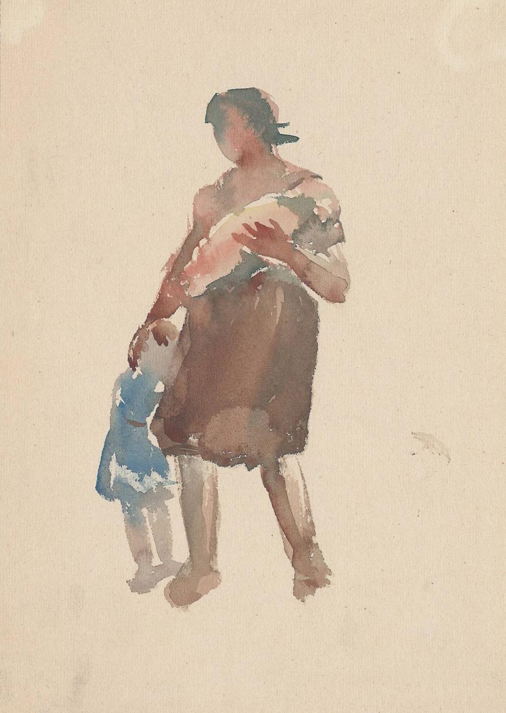 Natalia Nikolaevna Agapieva - Zakharova. Female portrait. With kids.