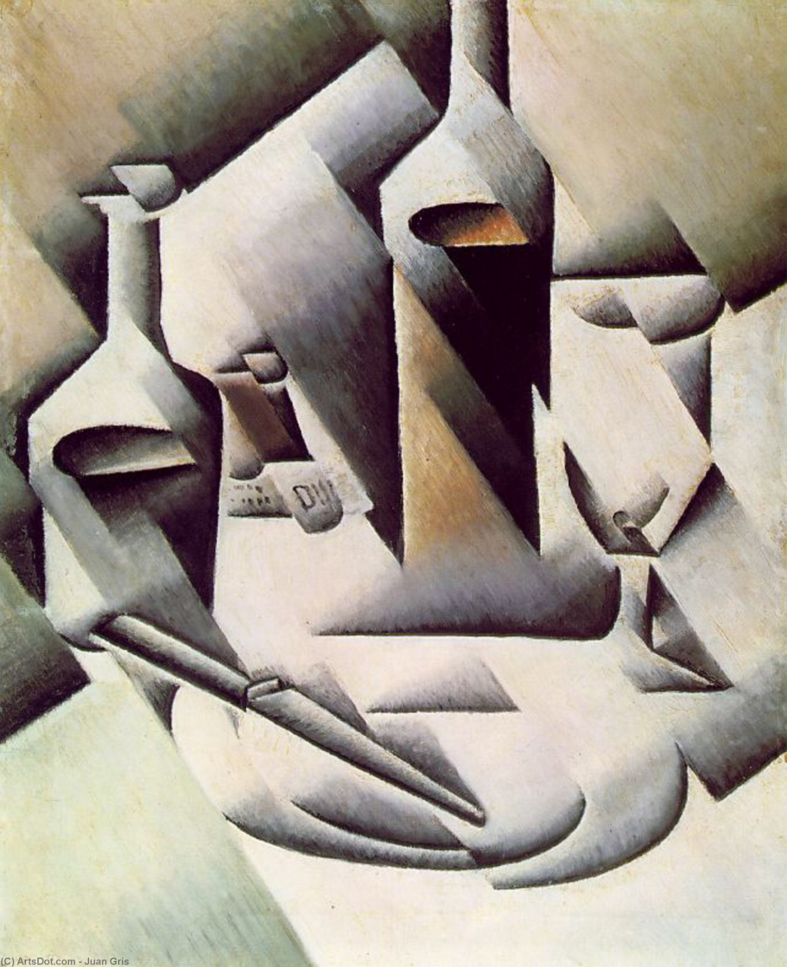 Juan Gris. Still life with bottles and knife