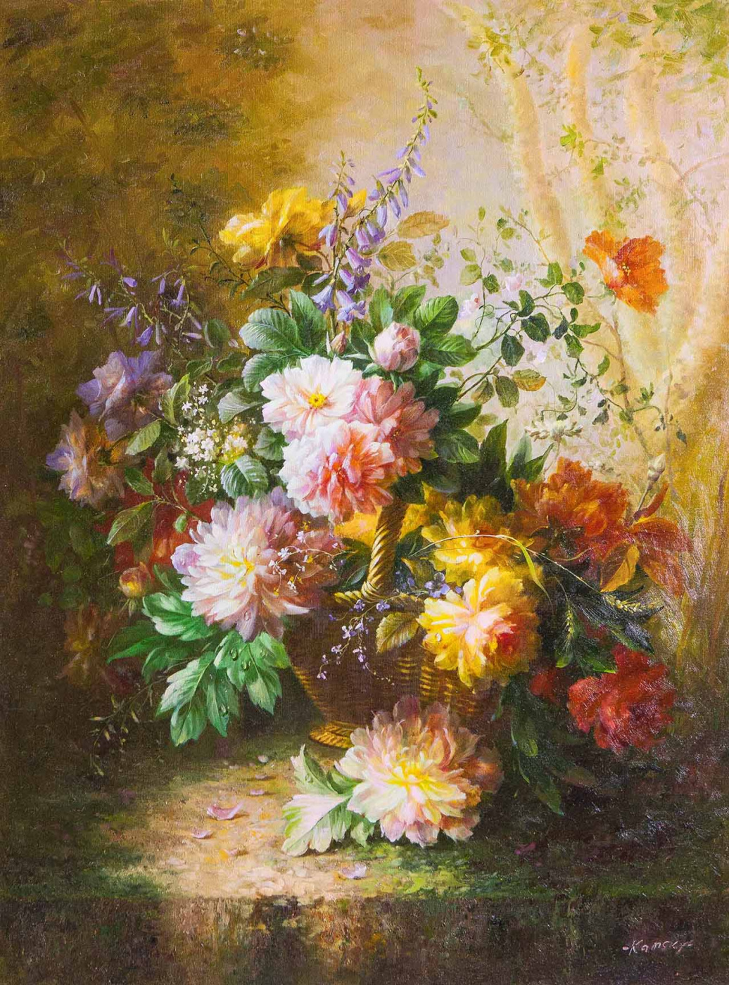 Savely Kamsky. Bouquet with peonies in baroque style