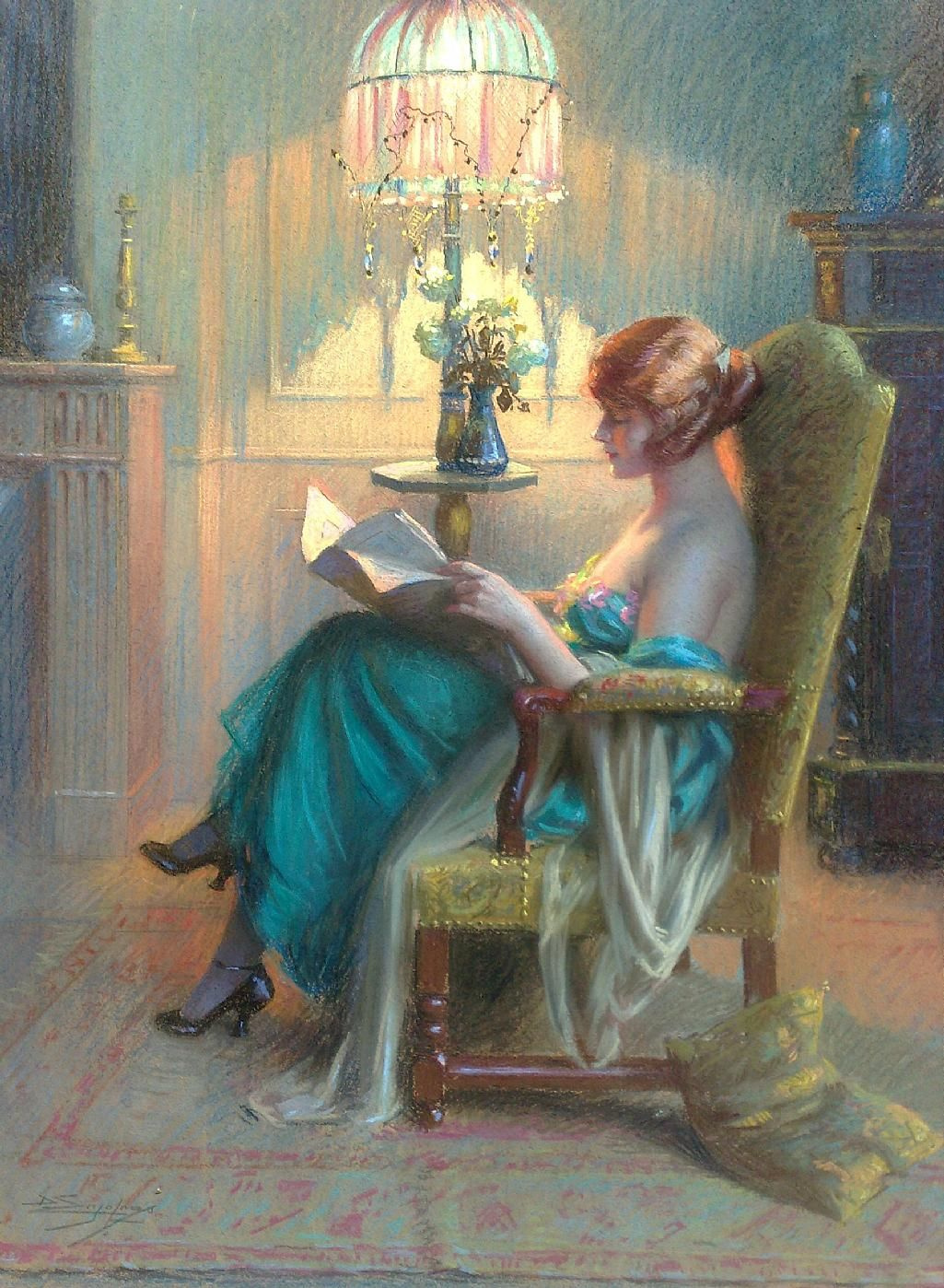 Dolphin Angolra. Reading in the boudoir