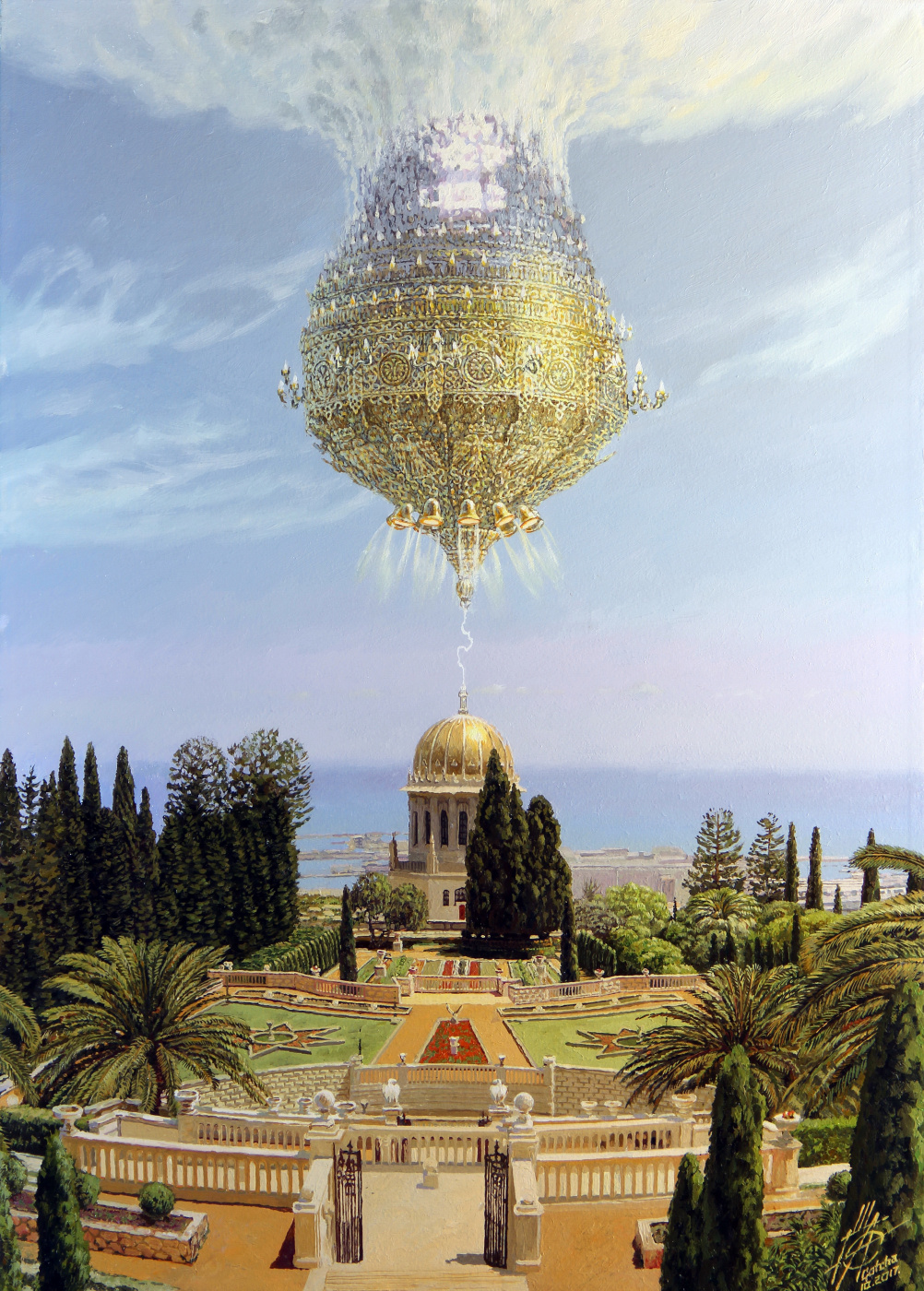 Georgy Ineshin. Visit of alien adherents of the Bahai religion on the Spaceship-prototype of the Chandelier of the Temple of the Holy Sepulcher