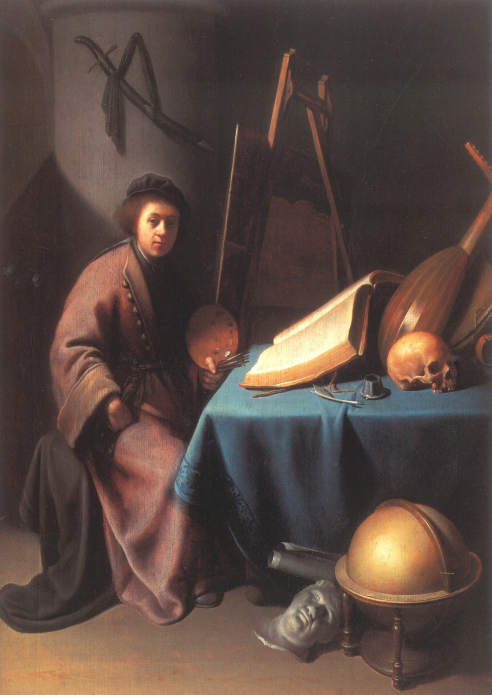 Gerrit (Gerard) Dow. The painter in his workshop