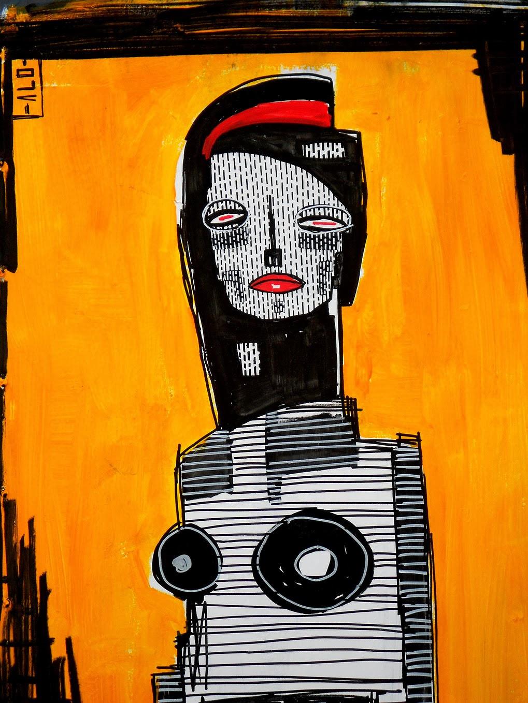 ALO (Aristide Loria). Portrait on orange