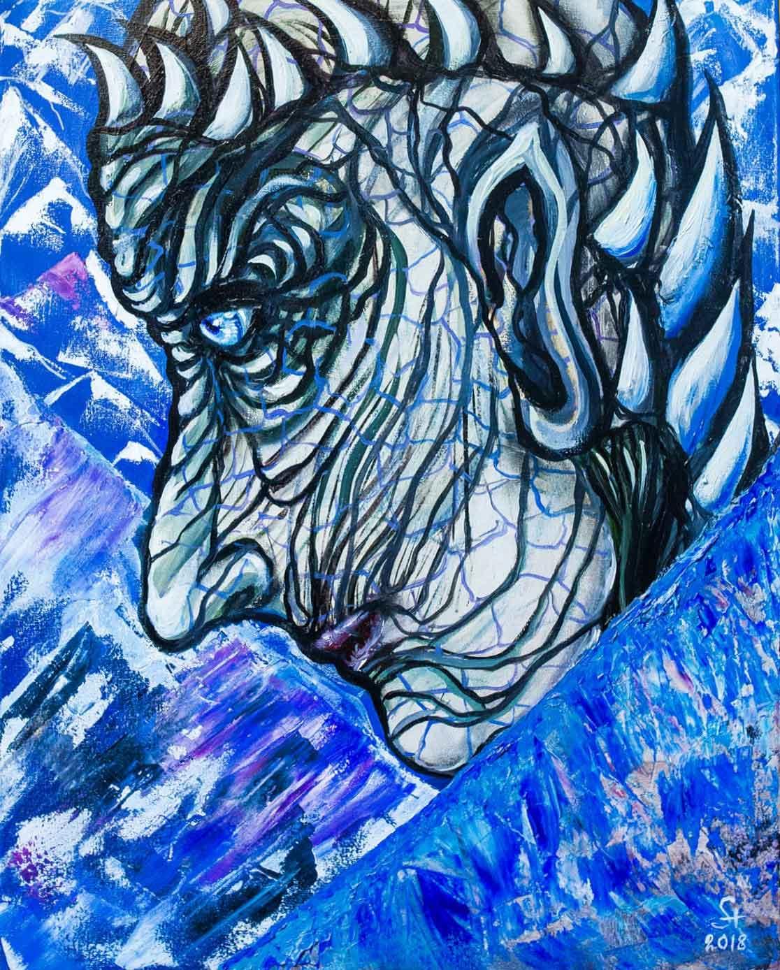 "Alla Struchayeva. The painting ""King of the night"""
