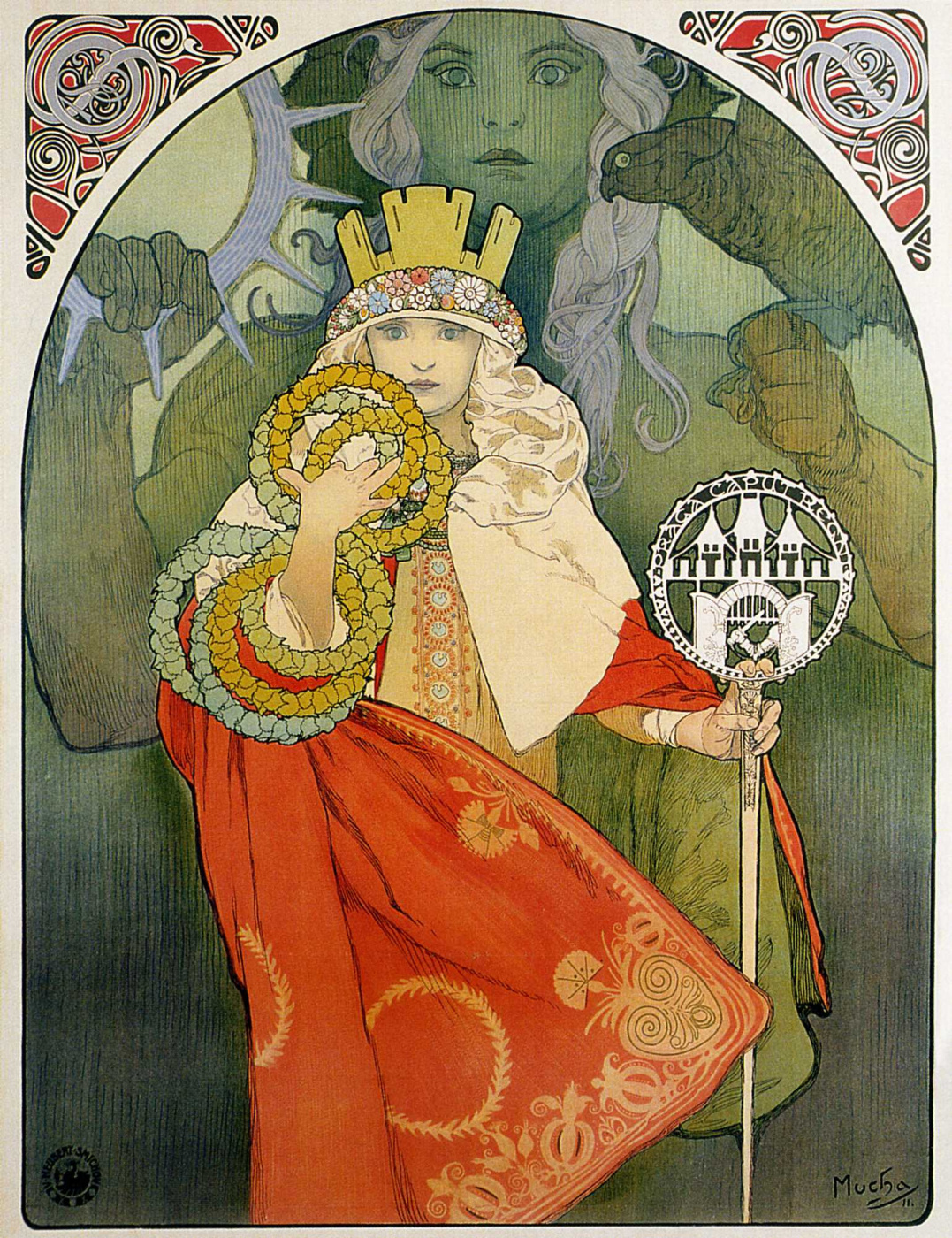 """Alfonse Mucha. Promotional poster for the sixth festival """"Falcon"""""""