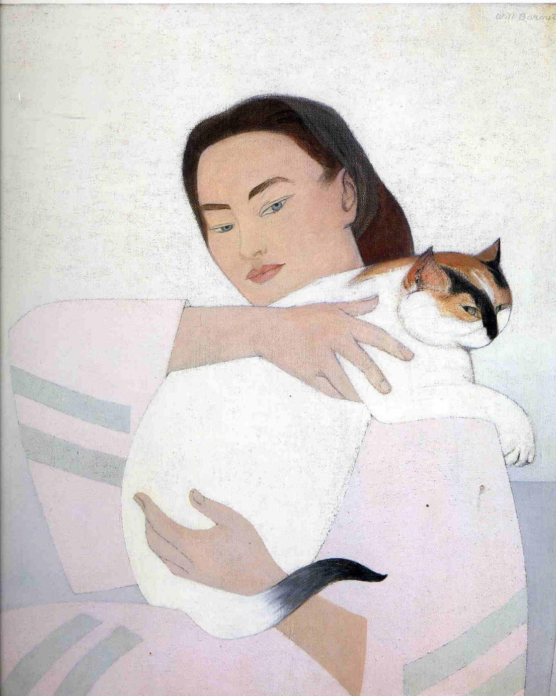 Will Barnet. Girl hugging a cat