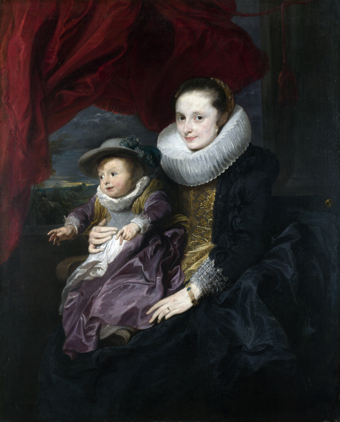 Anthony van Dyck. Portrait of a woman with a child