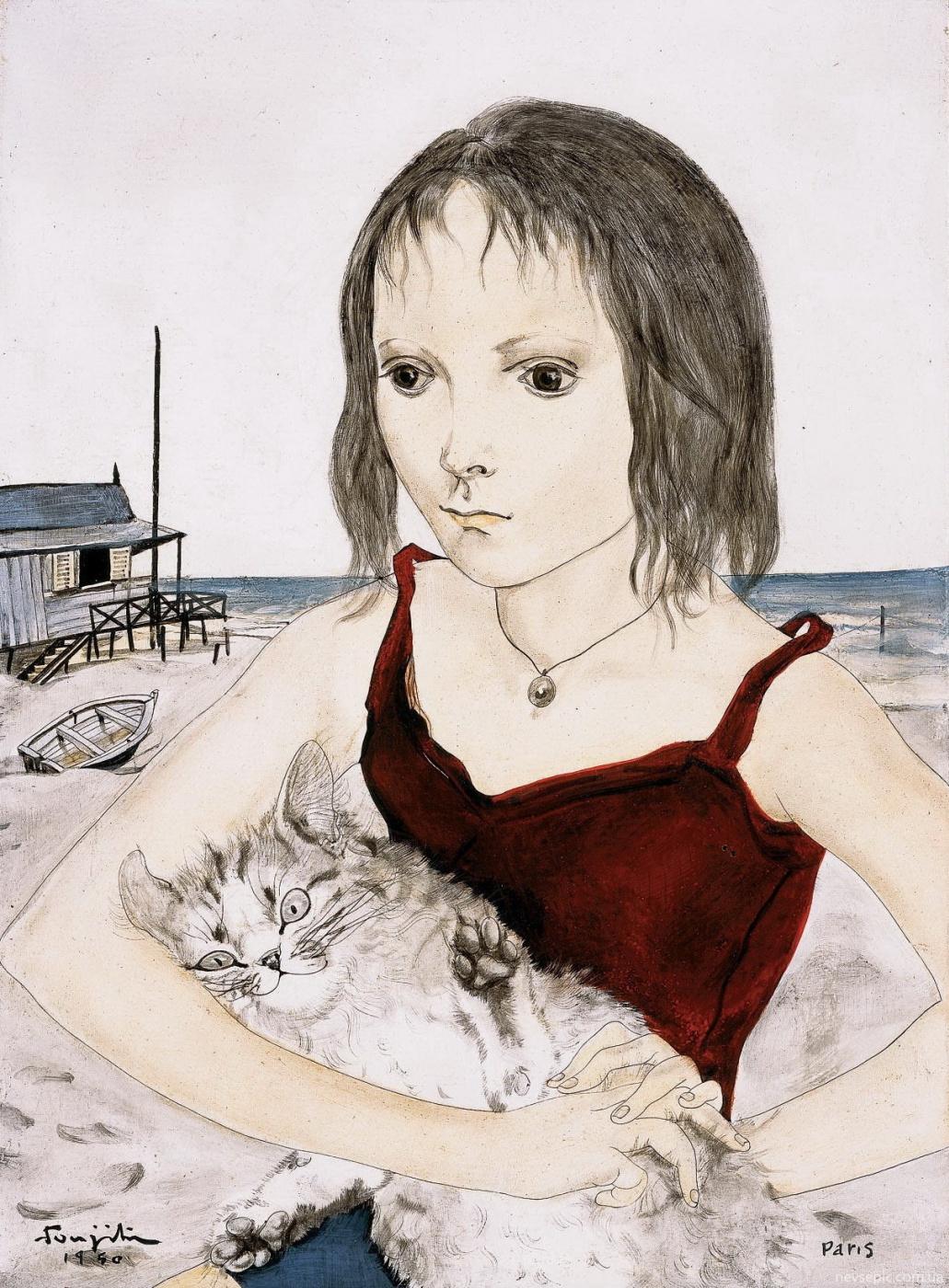 Tsuguharu Foujita (Léonard Fujita). Young Girl with Her Cat on the Beach