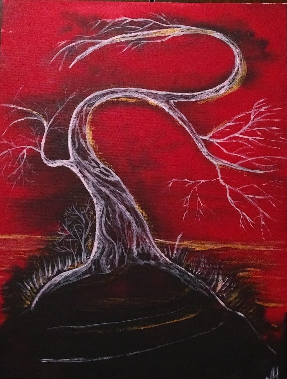 Marina Bocharova. Tree on black rock