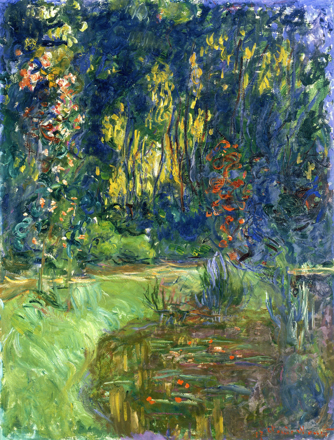 Claude Monet. A garden with a pond in Giverny