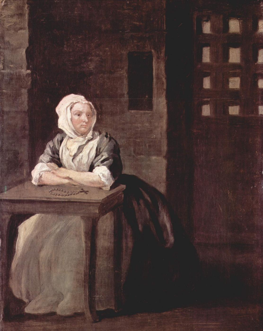 William Hogarth. Sarah Macolm in prison