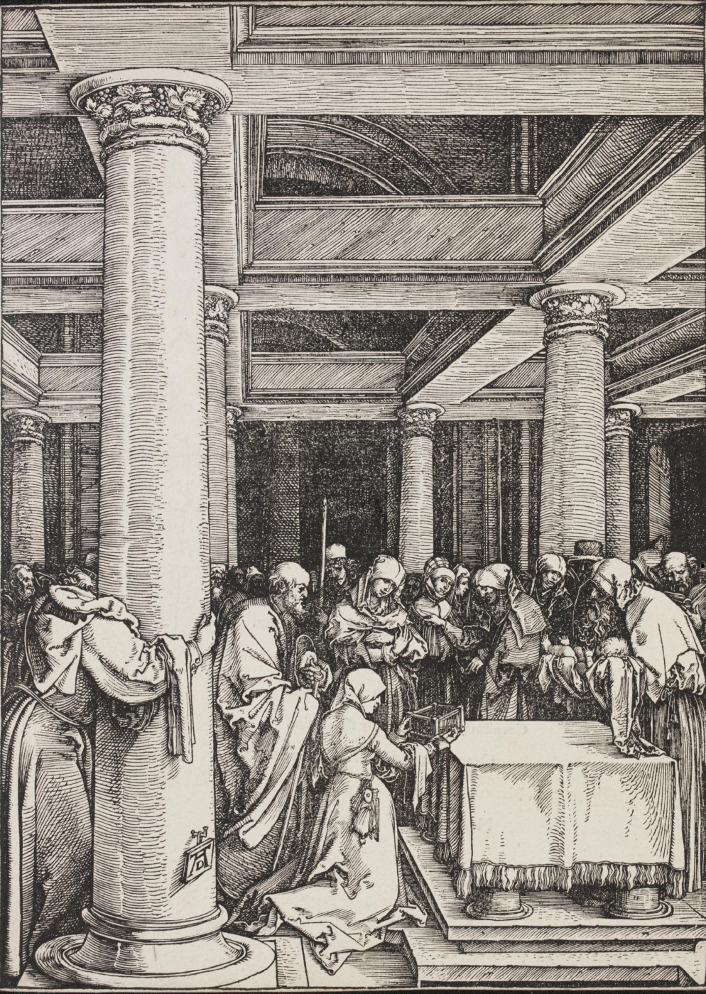 Albrecht Durer. The bringing of the infant Jesus in the temple