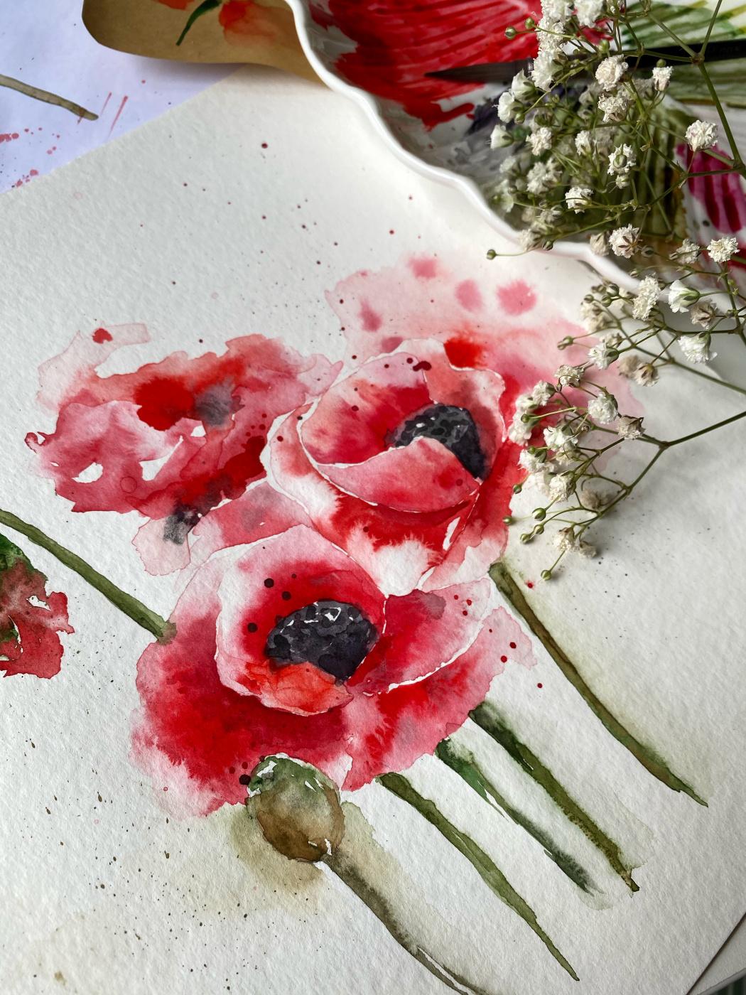 Arina Vikt. Watercolor poppy