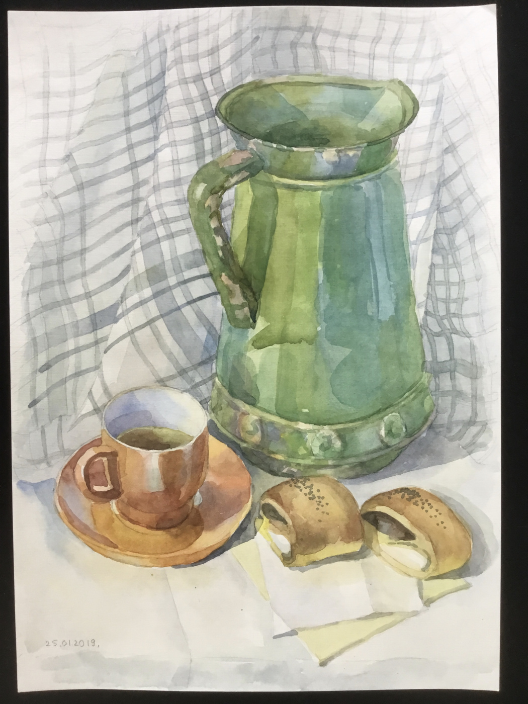 Vladimir Petrov. Still life with tea and cookies