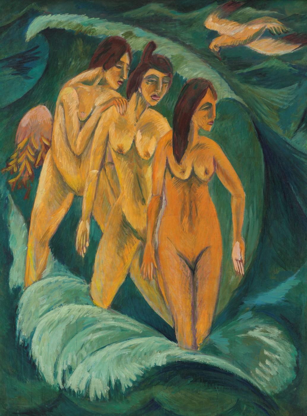 Ernst Ludwig Kirchner. Three bathers