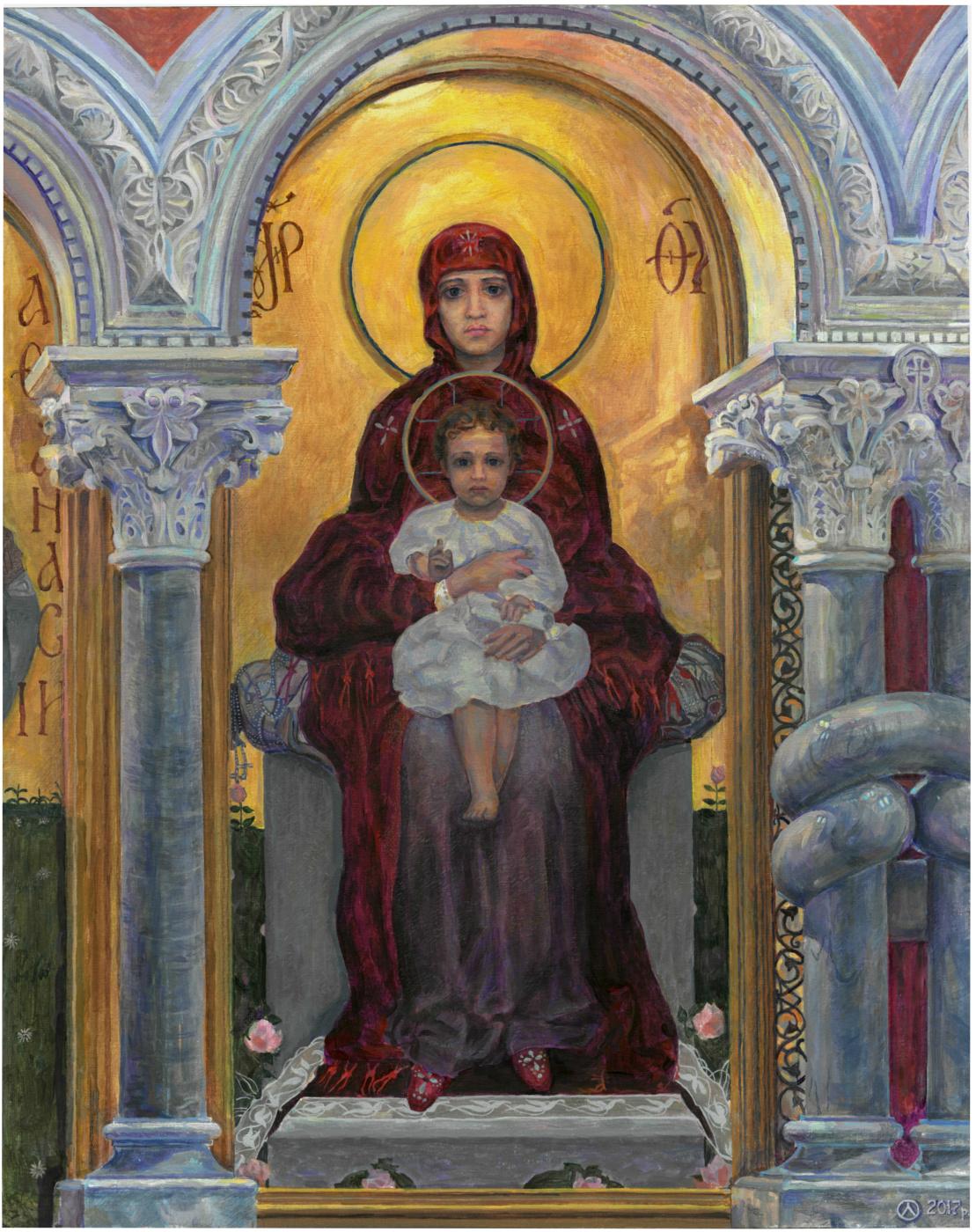 Oleg Mikhailovich Litvinenko. Fragment of the iconostasis of the Cyril Church. Virgin Mary with the Children. (Vrubel M.)