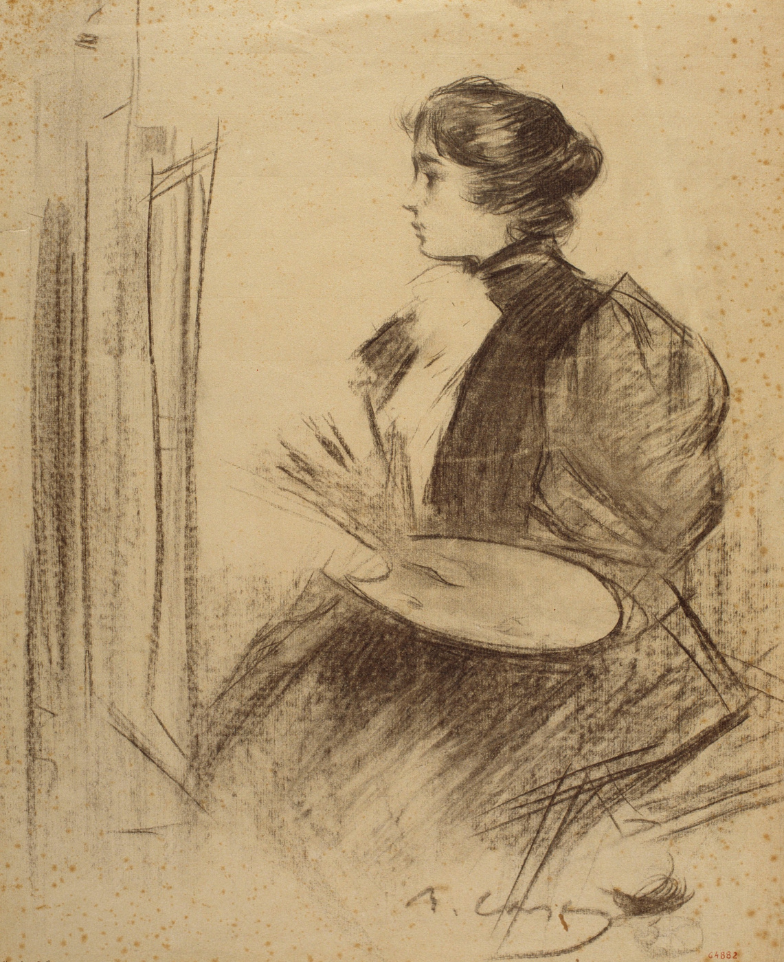 Ramon Casas i Carbó. The artist at work. Sketch