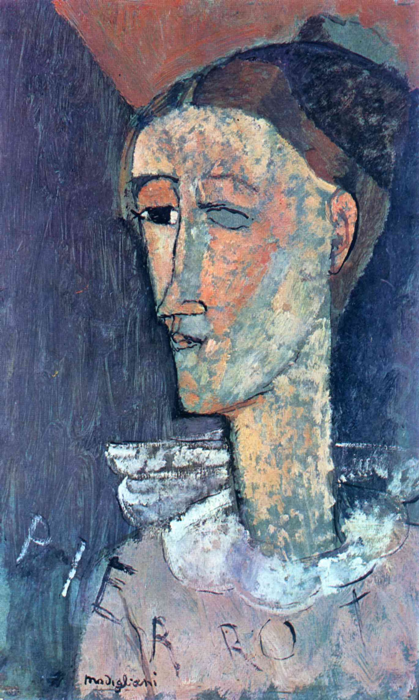 Amedeo Modigliani. Self-portrait in a Pierrot