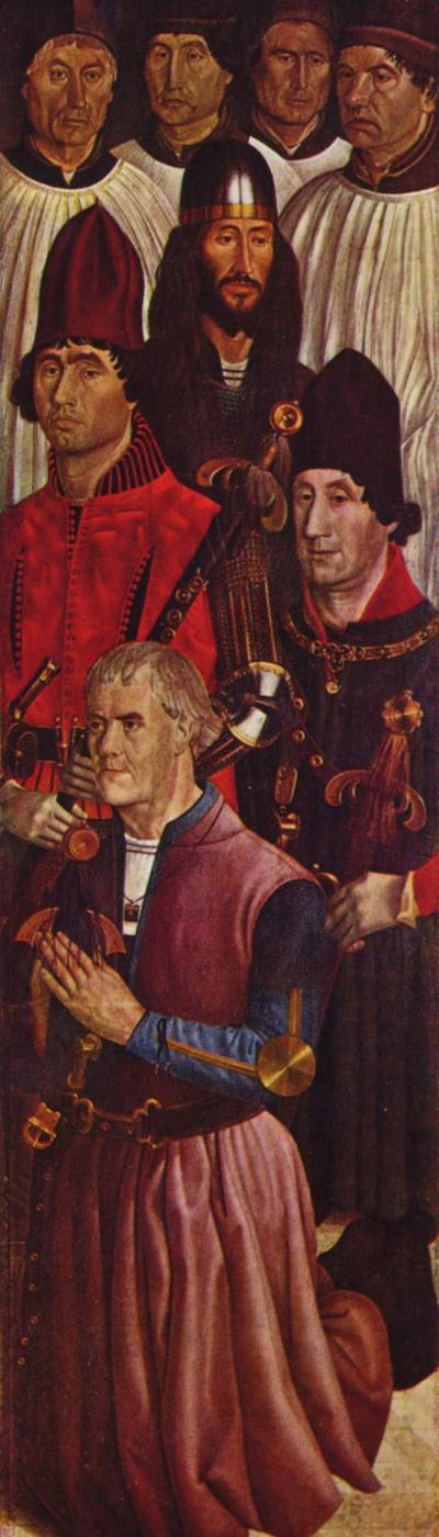 Нуньо Гонсалвеш. Створка алтаря св. Винсента. Рыцари и коленопреклоненный донатор