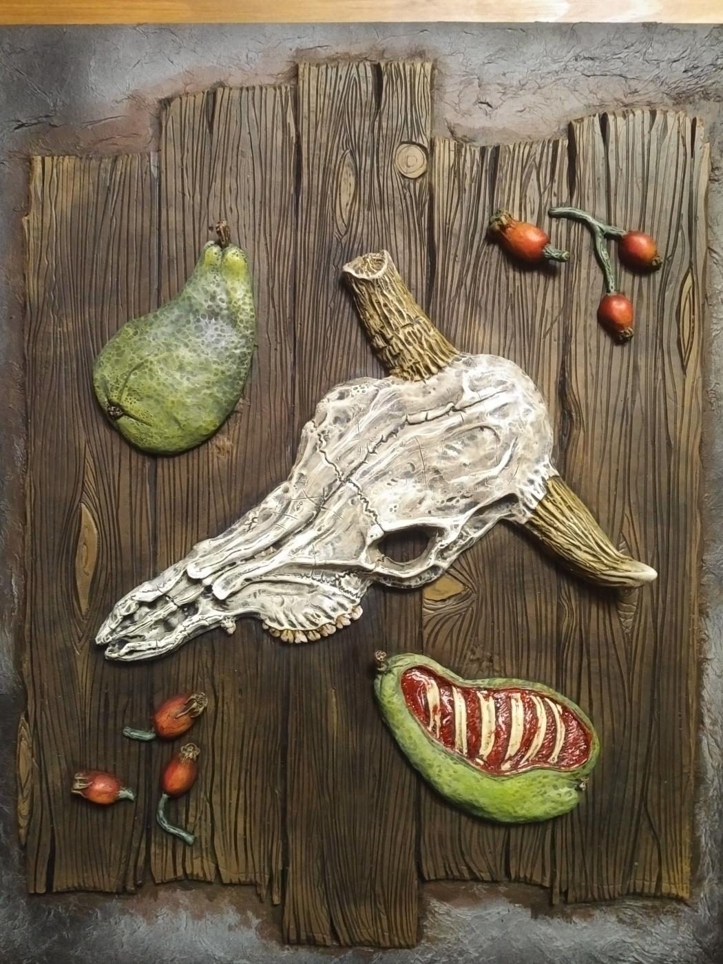 MI SHIN SIN. Still life with fleshy pears.