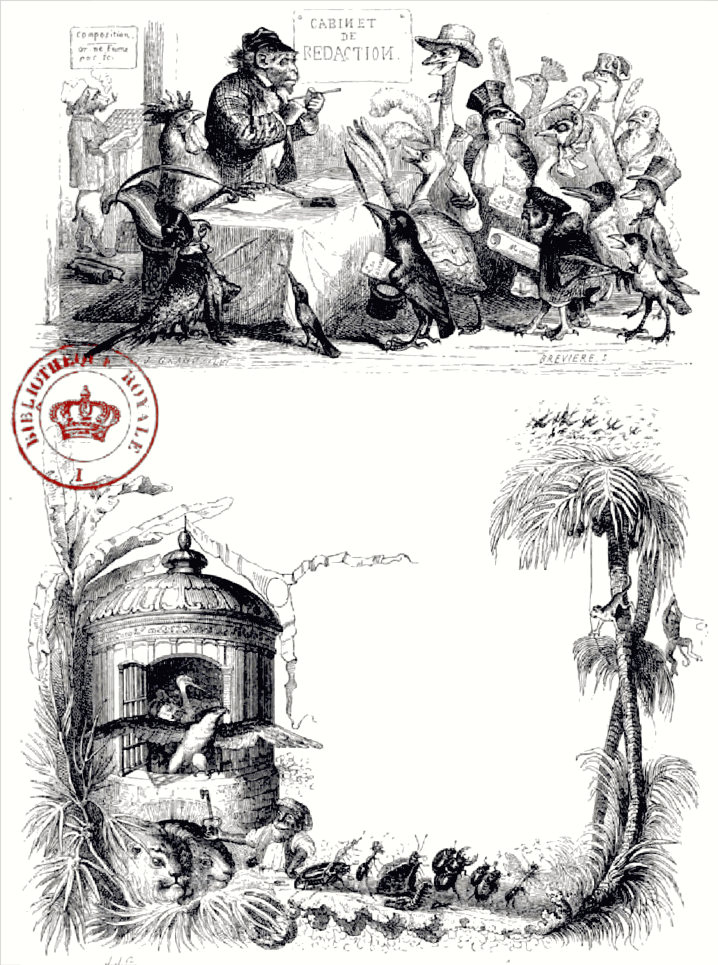 """Jean Inias Isidore (Gerard) Granville. """"Scenes of private and public life of animals."""" Design of prologue page"""