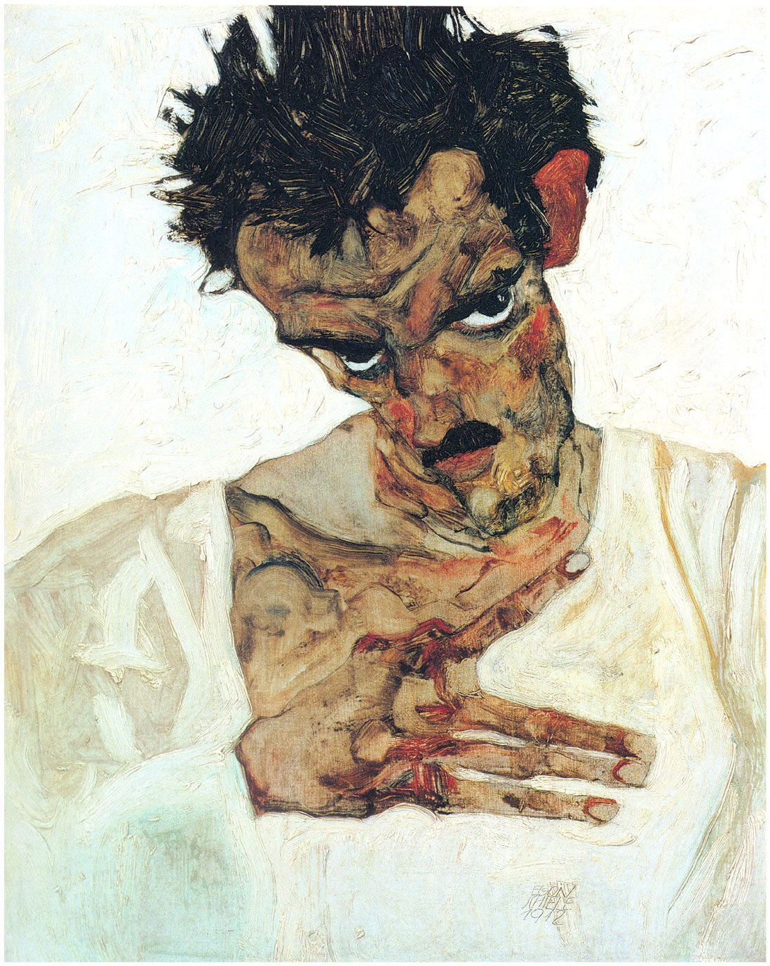 Egon Schiele. Self-portrait with her head bowed
