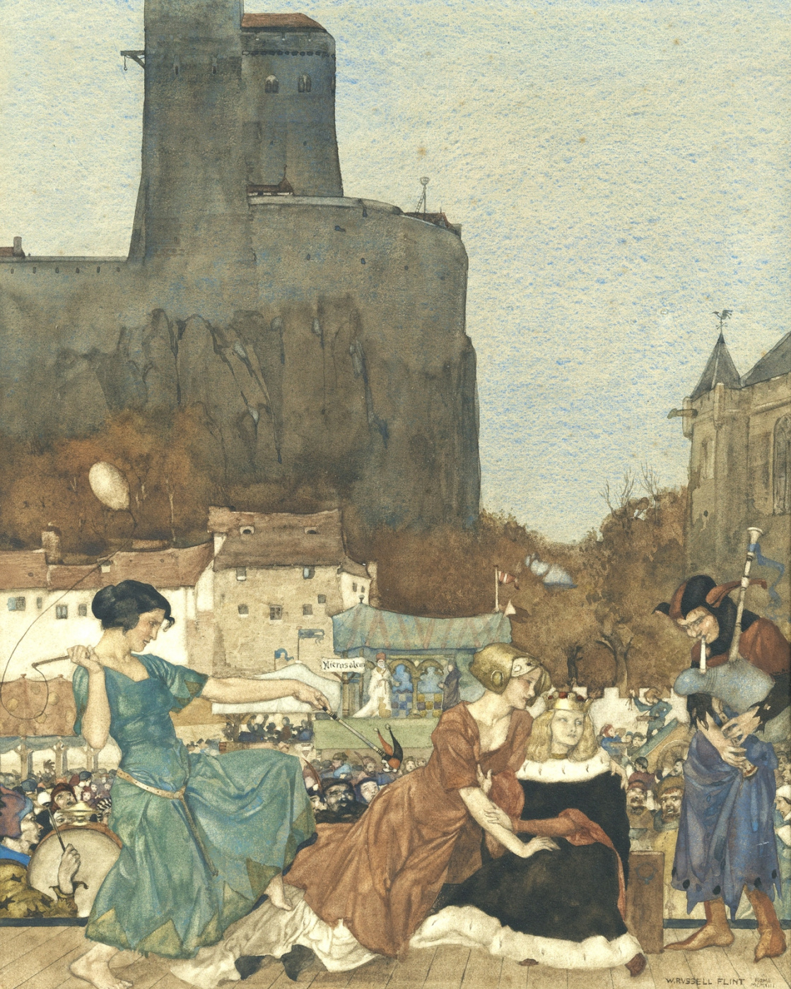 William Russell Flint 1880 - 1969 Scotland. Ront and revel on every side.