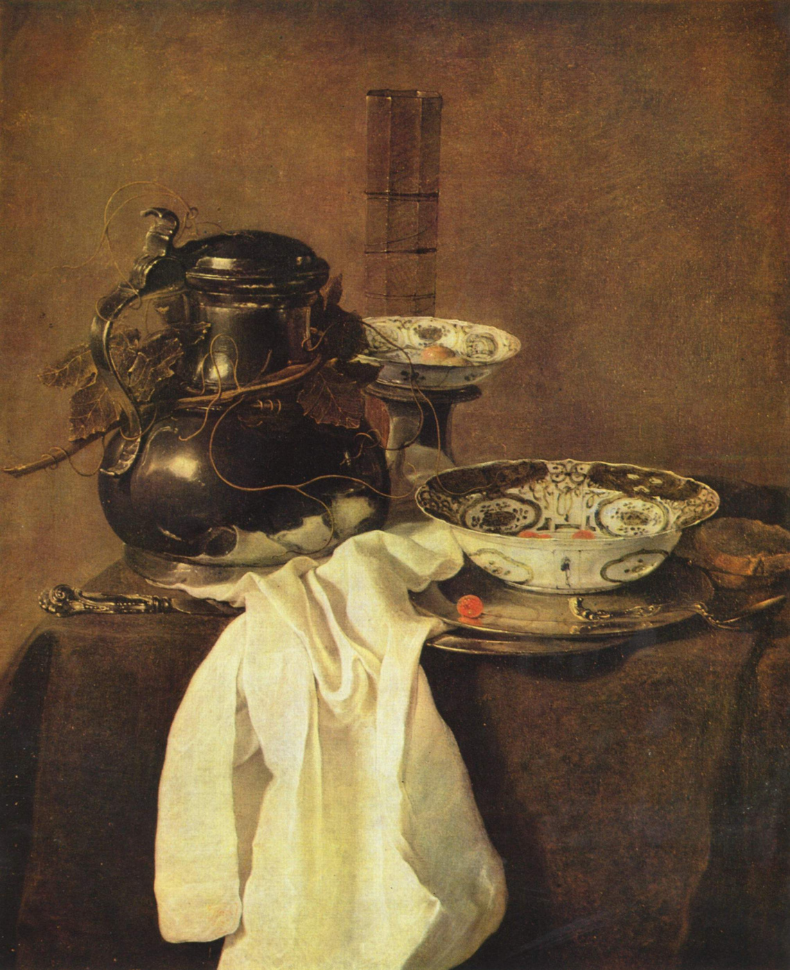 Track Yang. Still life with pewter jug and two porcelain dishes