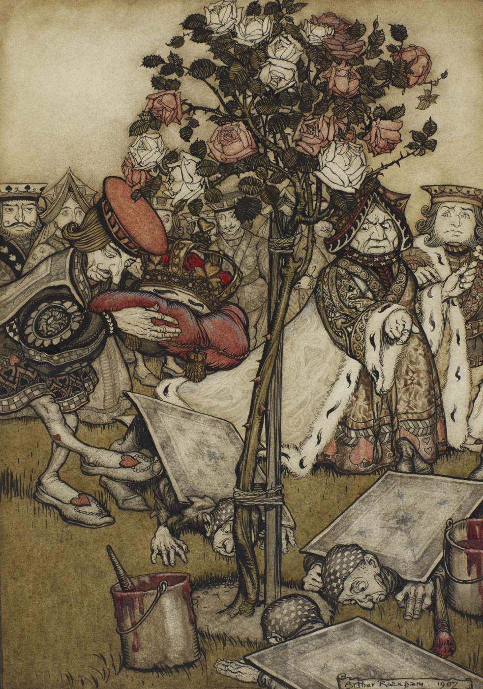 """Arthur Rackham. In the rose garden. Illustration for the fairy tale """"Alice in Wonderland"""""""