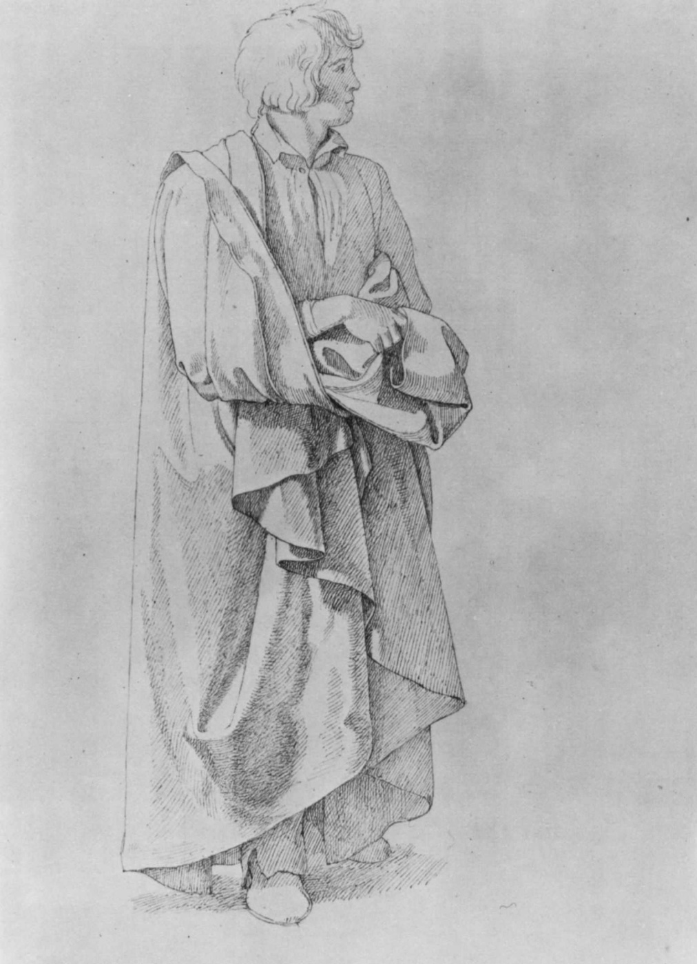 Johann Friedrich Overbeck. A man in a raincoat. Drapery sketch