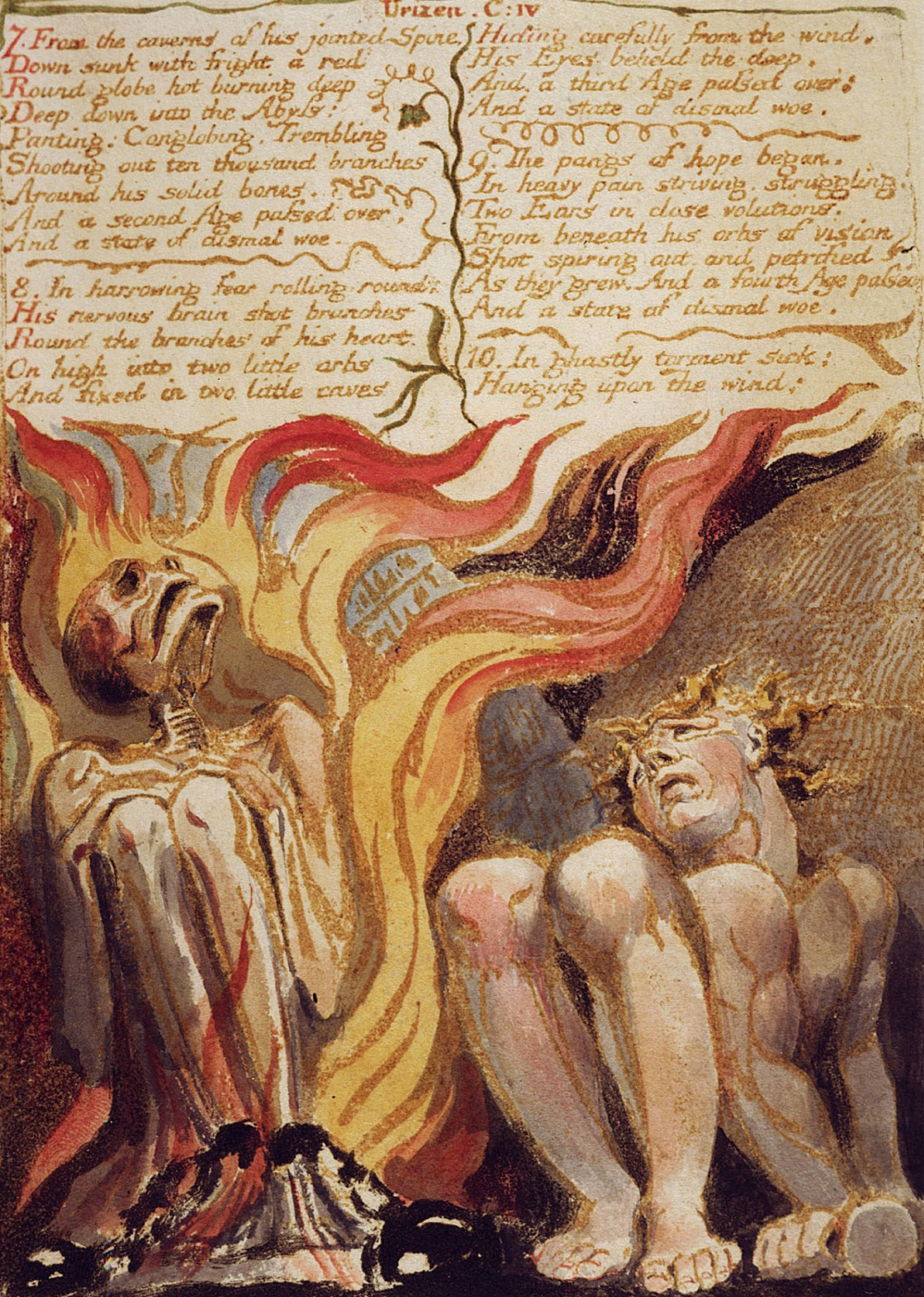 William Blake. The first book Urizen. Los and Urizen in chains and flames