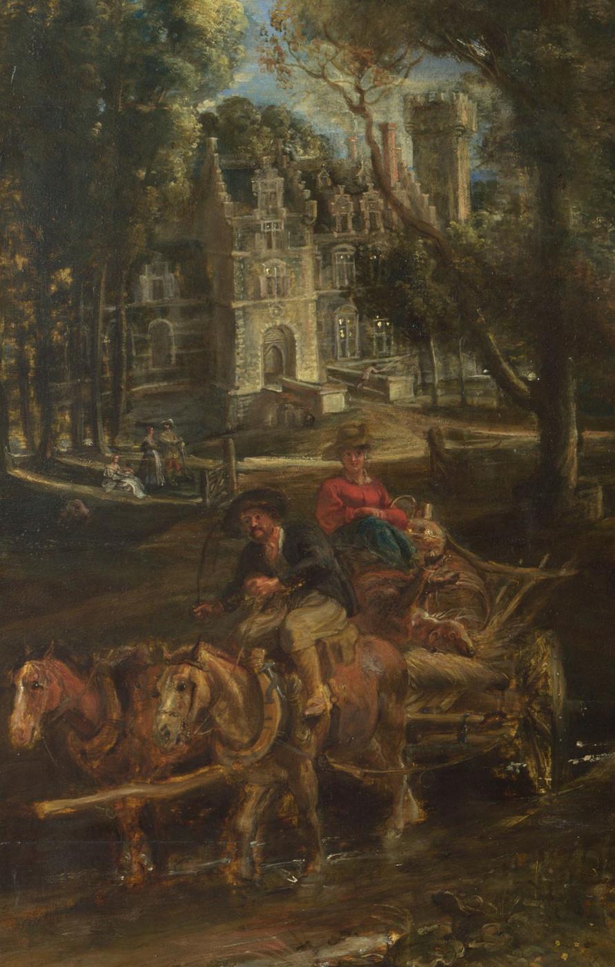 Питер Пауль Рубенс. Вид на замок Хет Стен ранним утром, фрагмент. Замок и телега