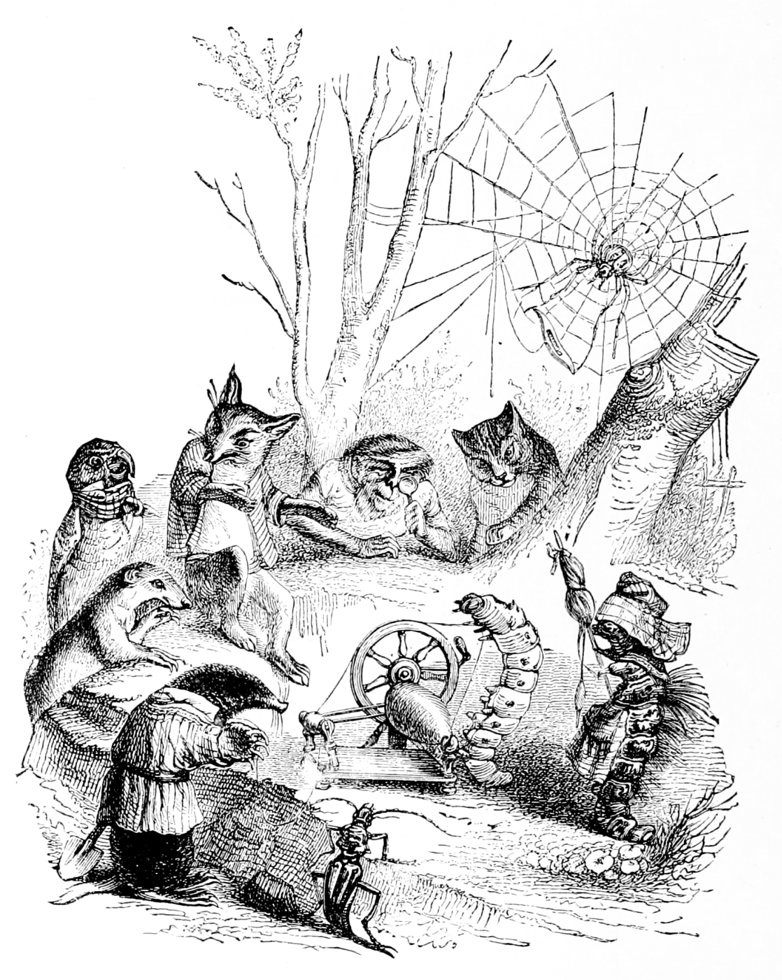 Jean Inias Isidore (Gerard) Granville. Silkworm. Illustrations to the fables of Florian