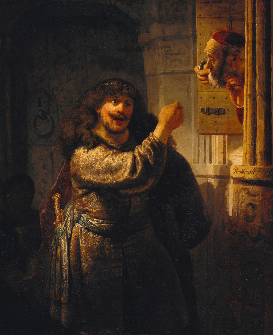 Rembrandt Harmenszoon van Rijn. Samson threatens his father in law